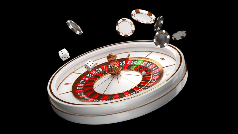Casino background. Luxury Casino roulette wheel isolated on black background. Casino theme. Close-up white casino. Roulette with a ball, chips and dice. Poker royalty free illustration
