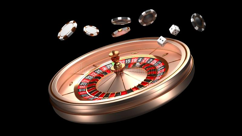 Casino background. Luxury Casino roulette wheel isolated on black background. Casino theme. Close-up white casino. Roulette with a ball, chips and dice. Poker vector illustration