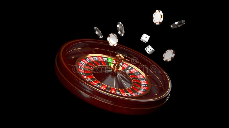 Casino background. Luxury Casino roulette wheel isolated on black background. Casino theme. Close-up white casino stock illustration