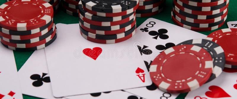 Casino background, randomly scattered items for gambling poker royalty free stock photos