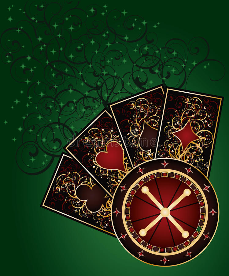 Casino background with roulette and poker cards. Vector illustration royalty free illustration