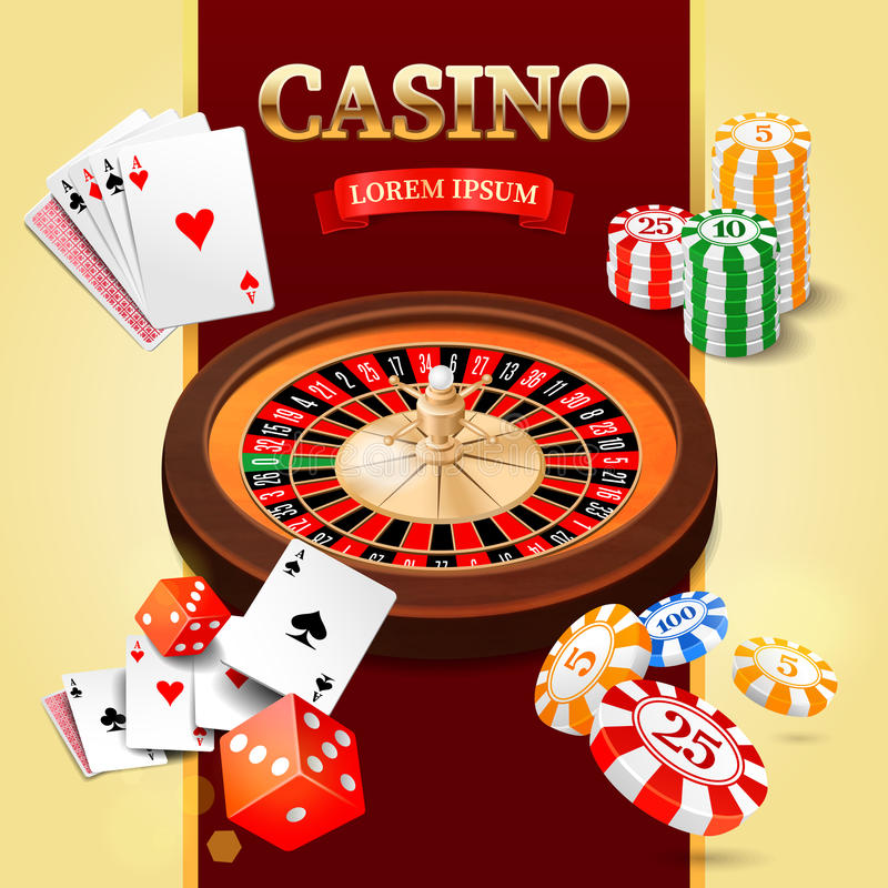 Casino background with roulette wheel, chips, game cards and craps. Vector illustration royalty free illustration