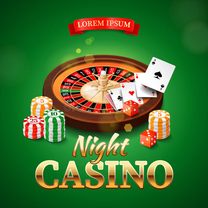 Casino background with roulette wheel, chips, game cards and dice. Vector illustration vector illustration