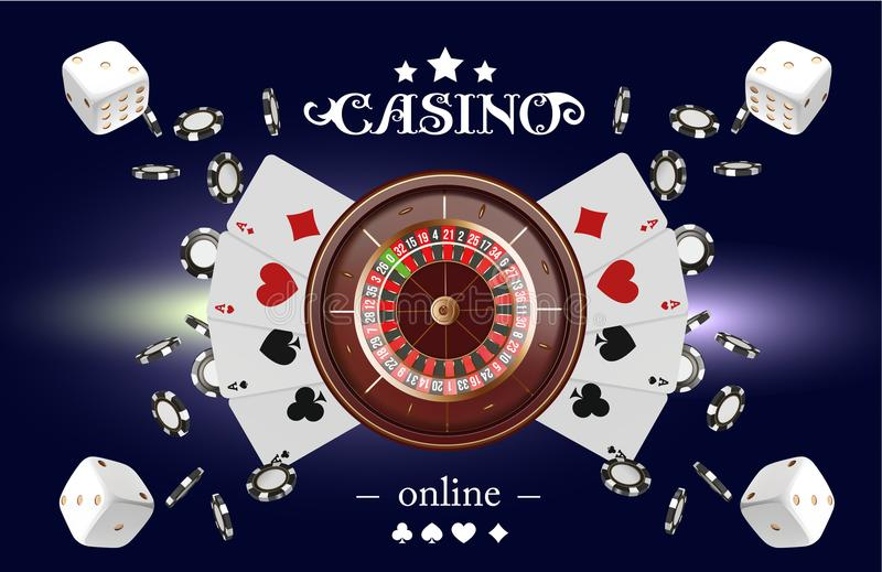 Casino background roulette wheel with playing cards, dice and chips. Online casino poker table concept design. Top view. Of white dice and chips on blue vector illustration