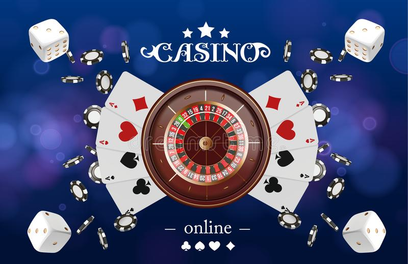 Casino background roulette wheel with playing cards, dice and chips. Online casino poker table concept design. Top view. Of white dice and chips on blue royalty free illustration