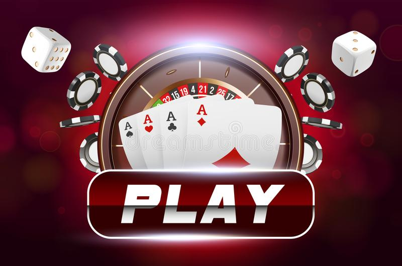 Casino background roulette wheel with playing cards, dice and chips. Online casino poker table concept design. Top view. Of white dice and chips on red royalty free illustration
