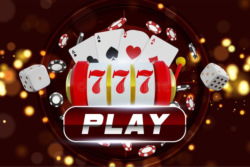 Casino background roulette wheel with playing chips. Online casino poker table concept design. Slot machine with lucky. Sevens jackpot. roulette chips on red stock illustration