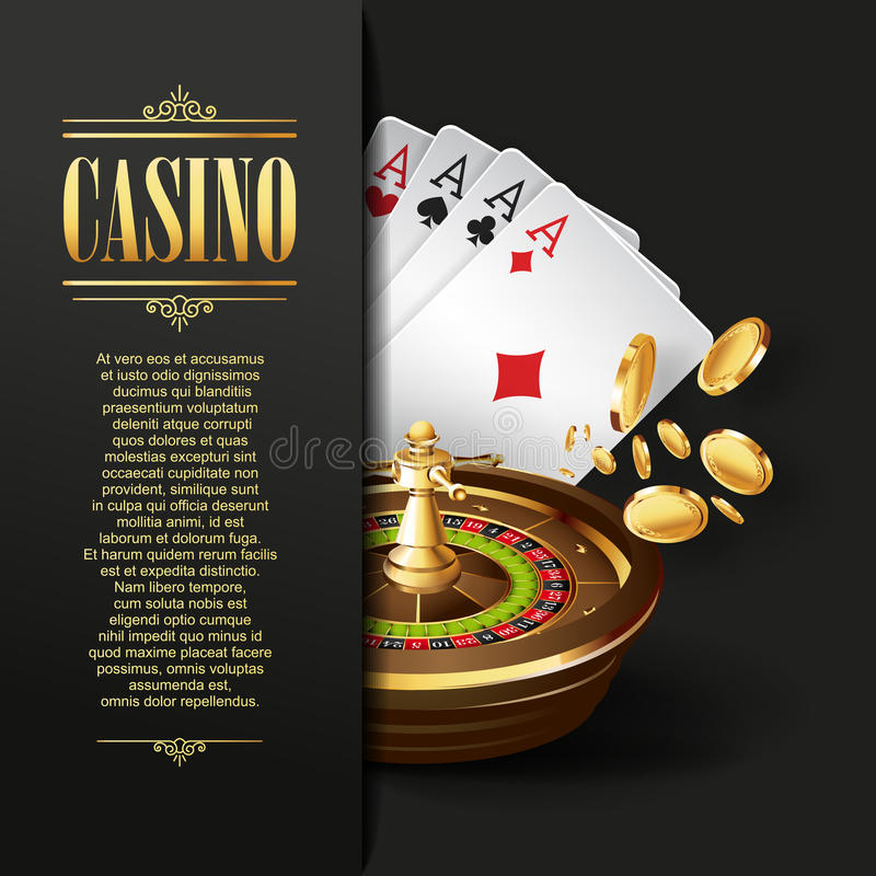 Casino background. Vector Gambling illustration. Casino background. Vector Poker illustration. Gambling template. Casino design with roulette wheel and playing royalty free illustration