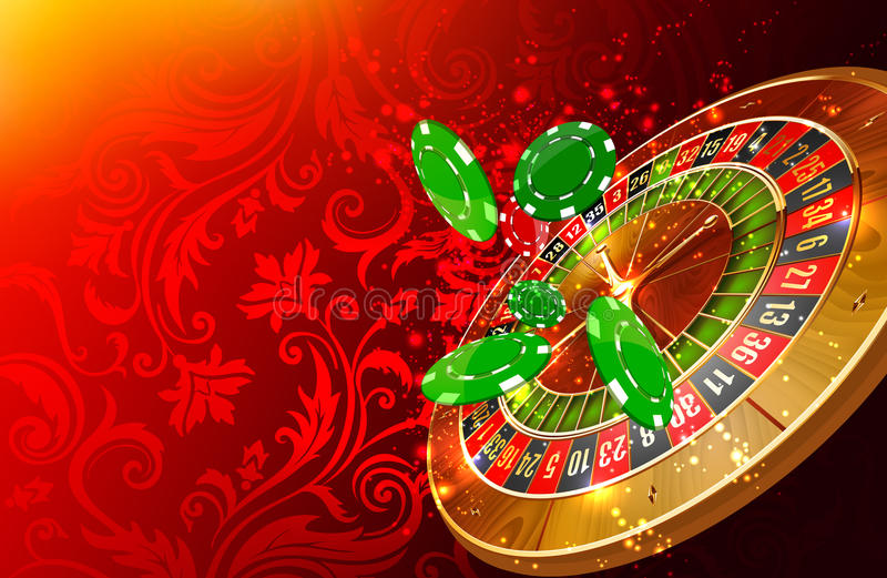 Casino background. Casino wheel roulette and casino chips floating illustration vector illustration