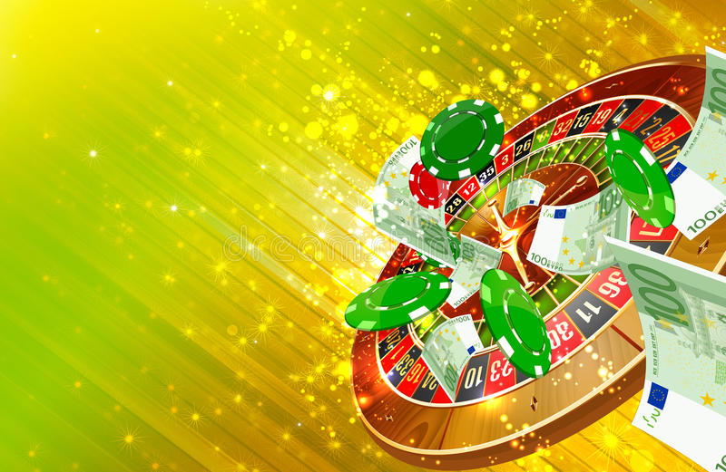 Casino background. Casino wheel roulette, casino chips and money floating illustration stock illustration
