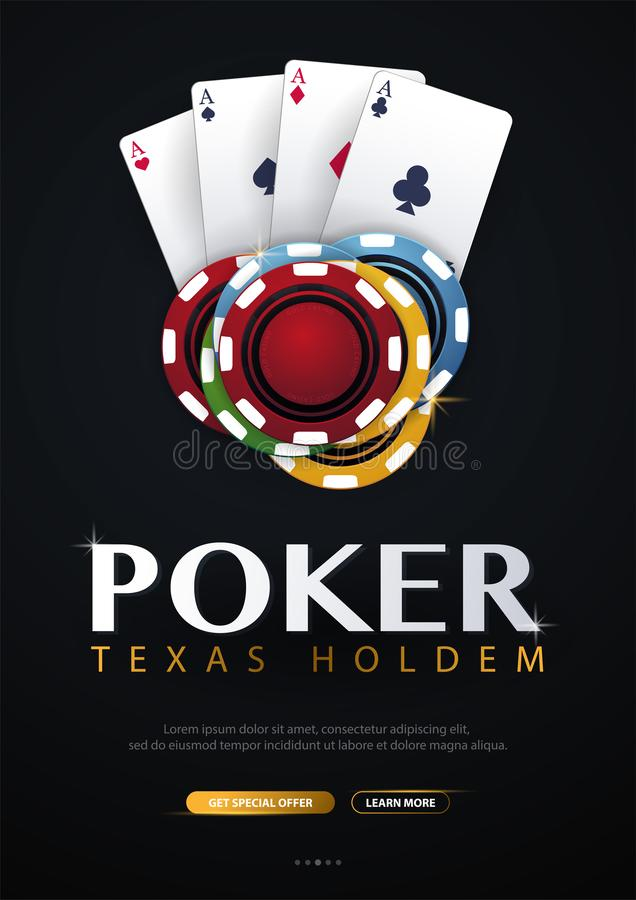 Casino banner with casino chips and cards. Poker club texas holdem. Vector illustration. Casino banner with casino chips and cards. Poker club texas holdem stock illustration