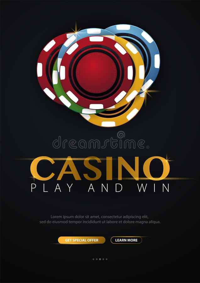 Casino banner with casino chips and cards. Poker club texas holdem. Vector illustration. Casino banner with casino chips and cards. Poker club texas holdem vector illustration