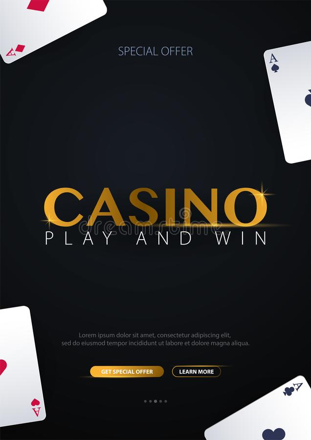 Casino banner with casino chips and cards. Poker club texas holdem. Vector illustration. Casino banner with casino chips and cards. Poker club texas holdem royalty free illustration