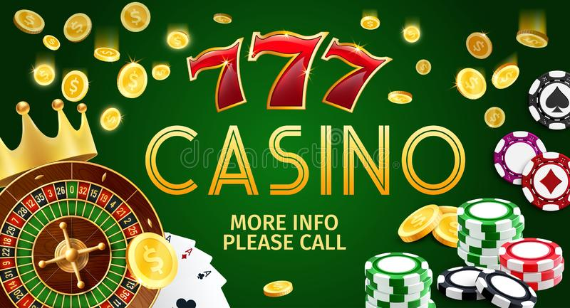 Casino banner with poker cards, slots and roulette. Online casino gamble game banner, Internet gambling. Vector of poker cards or aces, golden coins and roulette vector illustration