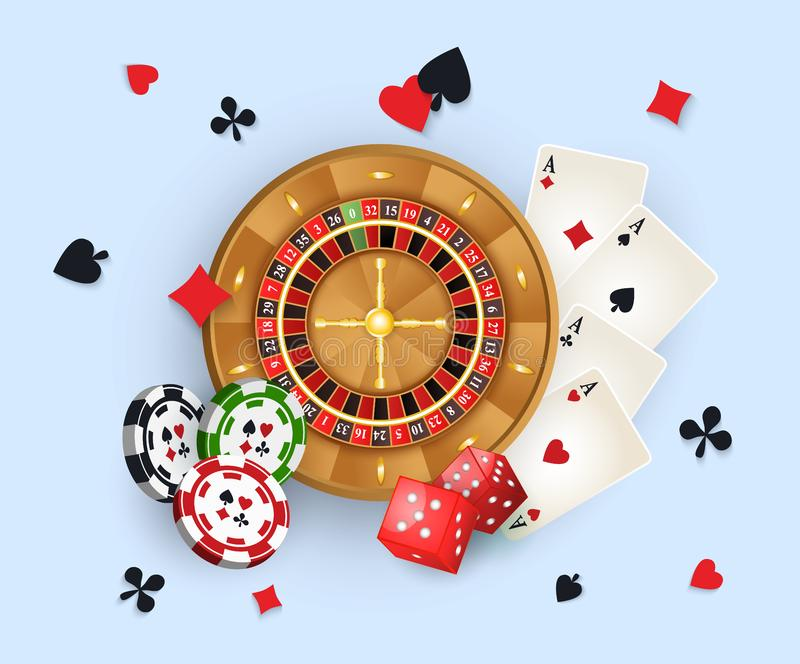 Casino banner with tokens, roulette wheel, cards. Casino banner, poster design with roulette wheel, chips, tokens, playing cards, dices and suits, vector royalty free illustration