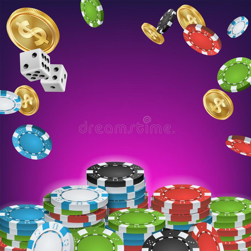 Casino Banner Vector. Online Poker Gambling Casino Banner Sign. Bright Chips, Dollar Coins. Jackpot Casino Billboard vector illustration