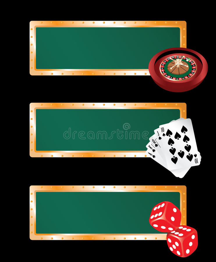 Casino banners set. Three casino banners - with roulette, cards and bones royalty free illustration