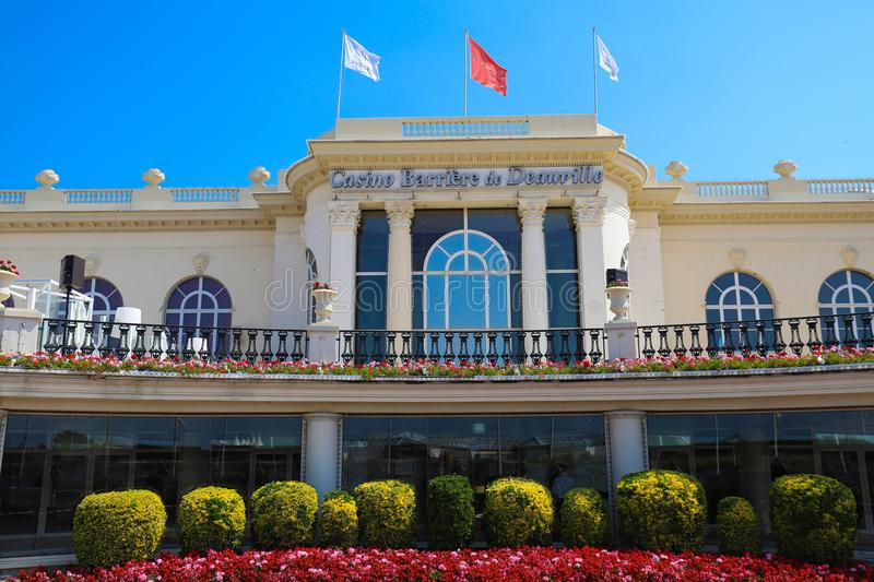 Casino Barriere de Deauville Fr: Deauville Le Normandy the casino beautiful building at the seaside. DEAUVILLE, FRANCE-July 14 ,2018: Casino Barriere de stock photos