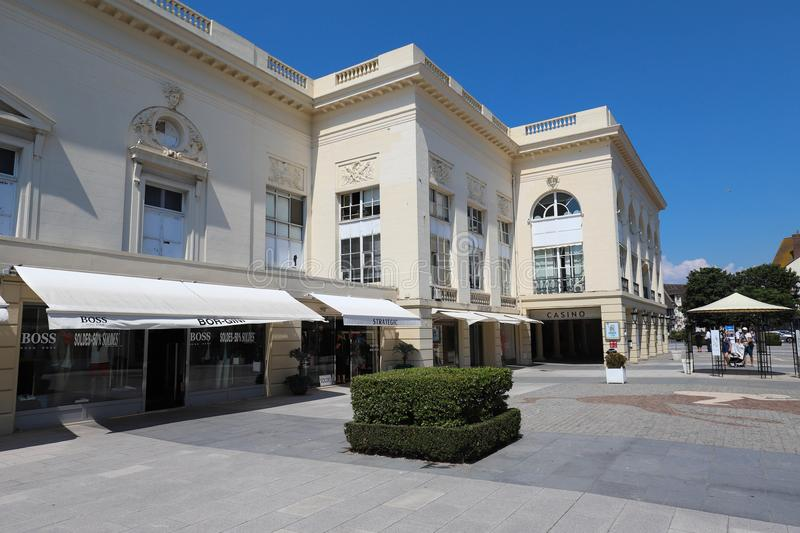 Casino Barriere de Deauville Fr: Deauville Le Normandy the casino beautiful building at the seaside. DEAUVILLE, FRANCE-July 14 ,2018: Casino Barriere de royalty free stock images