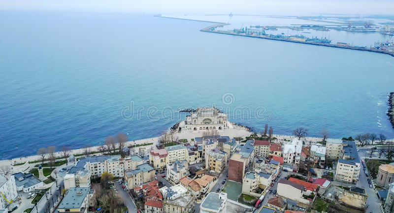 Casino Building , Constanta, Romania, aerial view. Emblematic building for the City of Constanta, Romania, the abandoned Casino Building on the Black Sea shore royalty free stock photos