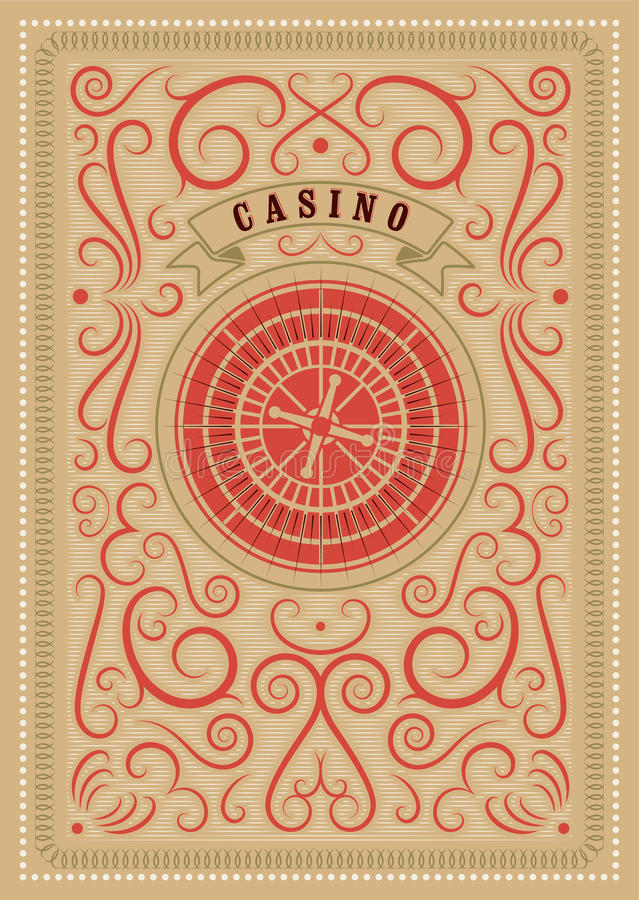 Casino calligraphic vintage style poster with roulette. Retro vector illustration. Casino calligraphic vintage style poster with roulette. Vector illustration royalty free illustration