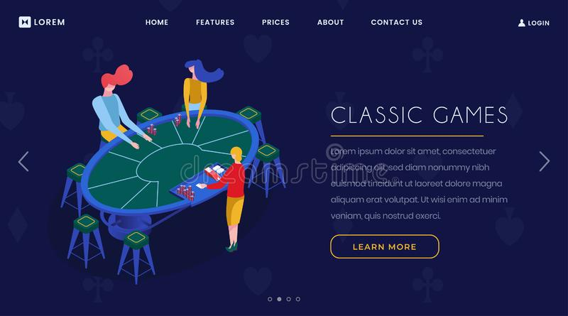 Casino card games isometric landing page. Gamblers group playing blackjack, croupier and players sitting at poker table. 3d illustration. Gambling business vector illustration