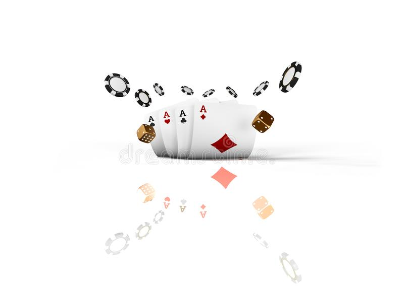 Casino cards dice and chips fly isolated on white background. Online casino concept with place for text. Falling poker. Chips in air. 3d rendering royalty free illustration