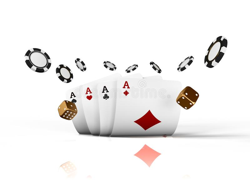 Casino cards dice and chips fly isolated on white background. Online casino concept with place for text. Falling poker. Chips in air. 3d rendering stock illustration