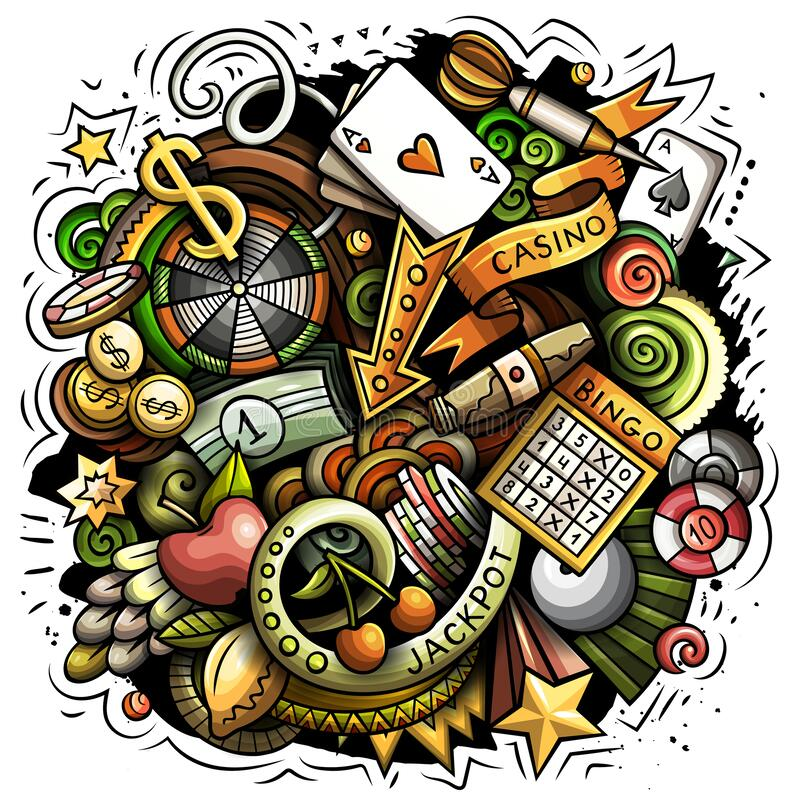 Free Casino Cartoon Vector Doodle Design Royalty Free Stock Photo - 213538565