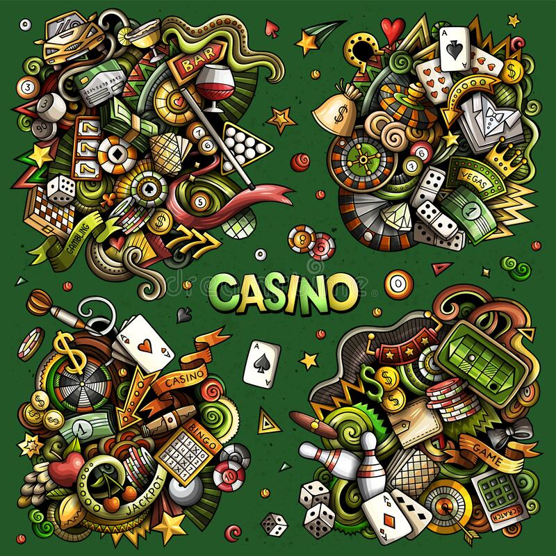 Free Casino Cartoon Vector Doodle Designs Set. Royalty Free Stock Images - 211454249