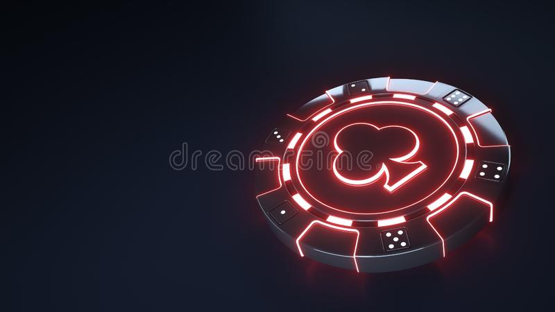 Casino Chip clubs Concept with glowing neon red lights and Dice dots isolated on the black background - 3D Illustration stock illustration