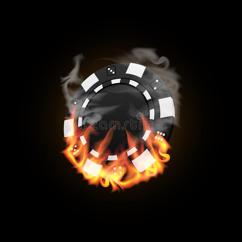 Casino Chip in Fire royalty free illustration