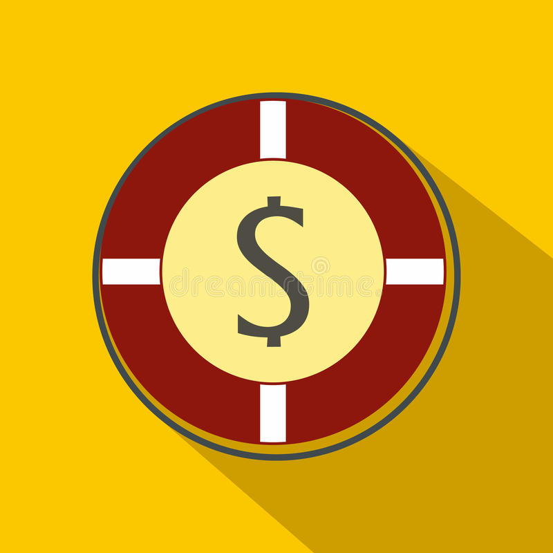 Casino chip icon, flat style. Casino chip icon in flat style on a yellow background vector illustration