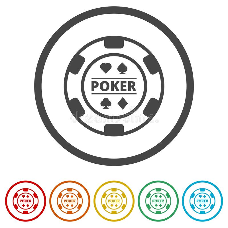 Casino chip icon, Poker icon, 6 Colors Included stock illustration