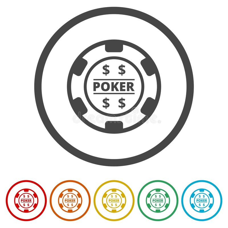 Casino chip icon, Poker icon, 6 Colors Included royalty free illustration