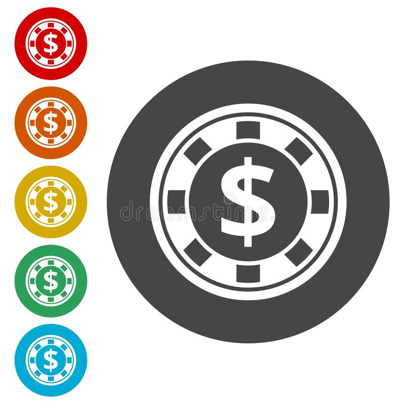 Casino chip icons set vector illustration