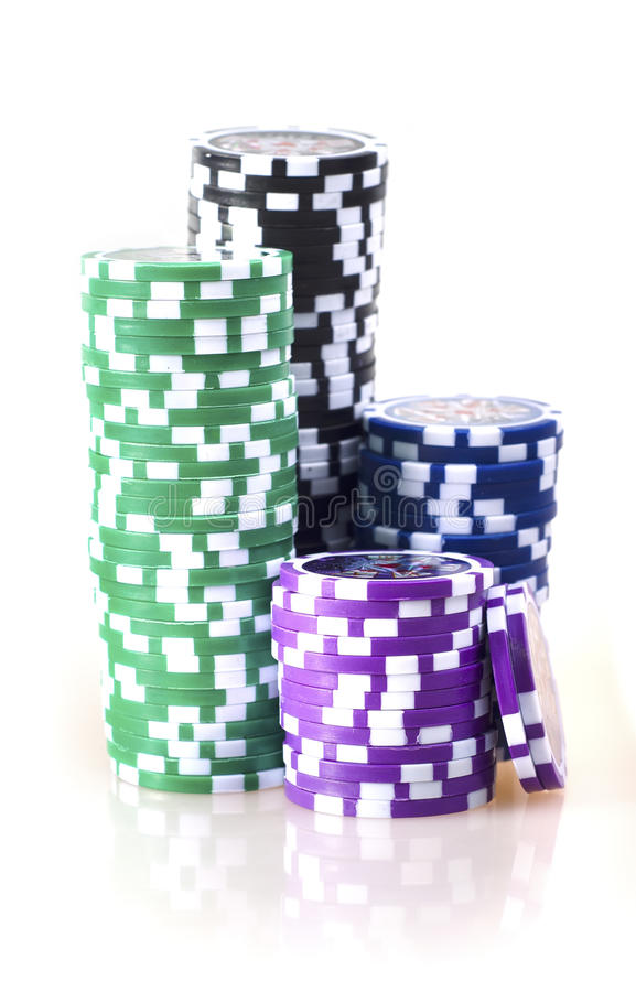 Casino chips. Isolated on the white royalty free stock image