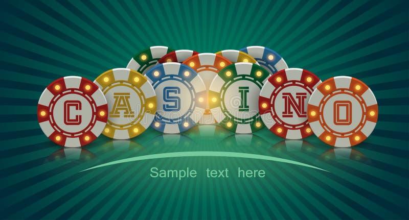 Casino chips banner. In vector vector illustration