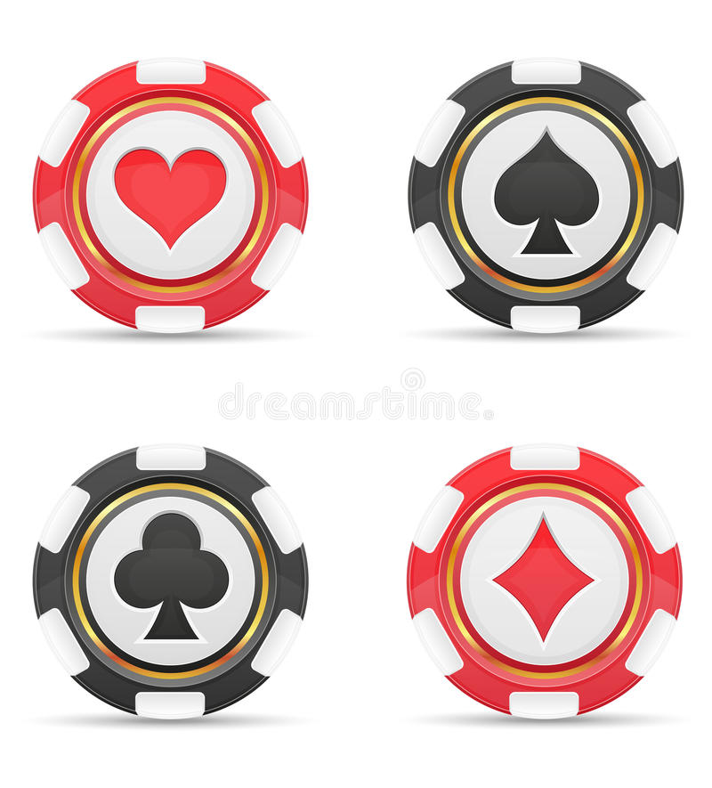 Casino chips with cards suits vector illustration. On white background vector illustration