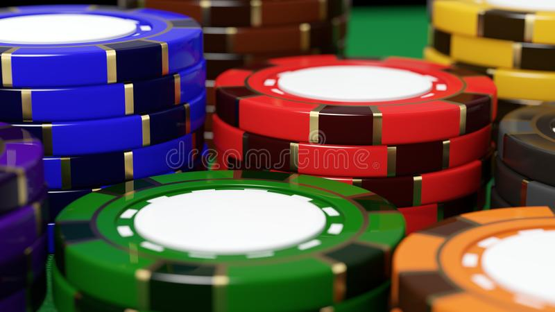 Casino chips close-up. 3D illustration vector illustration