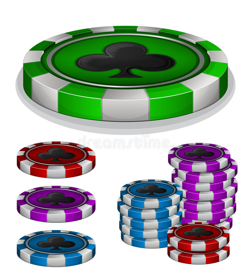 Download Casino Chips With Clubs Sign Stock Vector - Image: 32915270