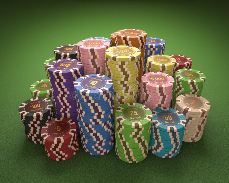Casino Chips. Colorful chips on a green table. Concept of casino and gambling. Clipping path on the chips royalty free stock photography