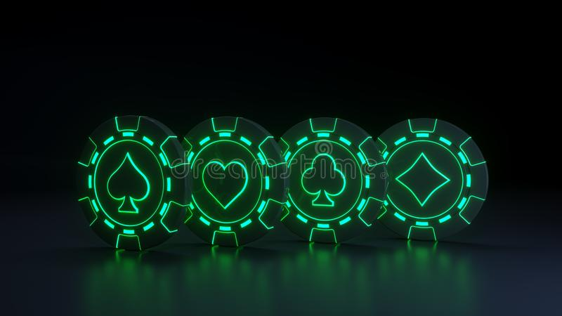 Casino Chips Concept con las luces verdes de neón que brillan intensamente en el fondo negro - ejemplo 3D libre illustration