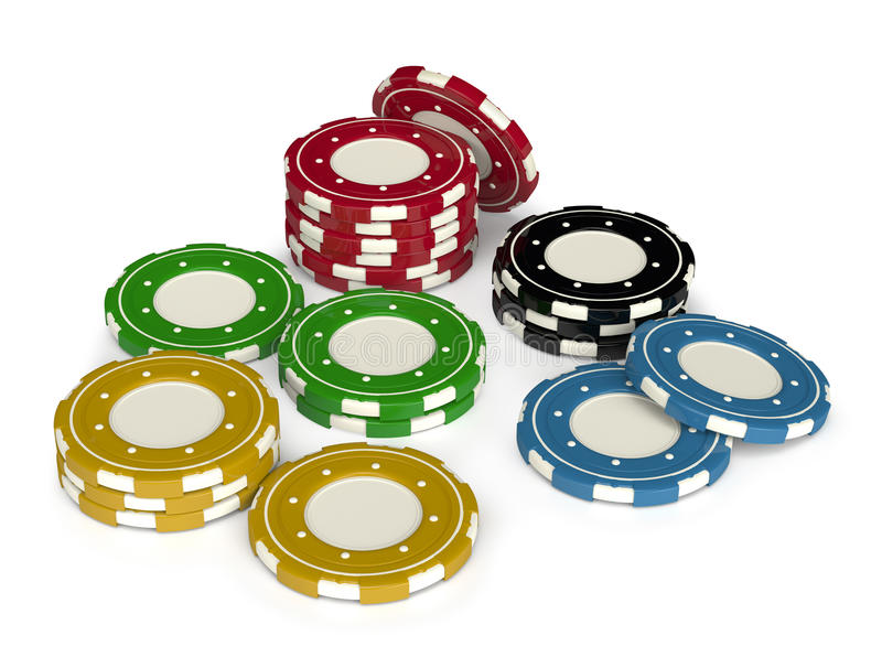 Casino chips 3d isolated. Casino gambling chips 3D isolated on white background vector illustration