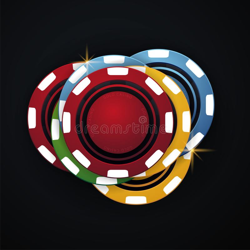 Casino chips on the dark background. Vector illustration. Casino chips on the dark background. Vector illustration stock illustration