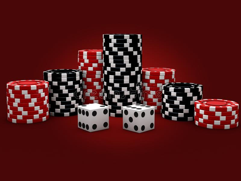 Casino Chips with Dice. Casino Chips And Dice On Red Background vector illustration