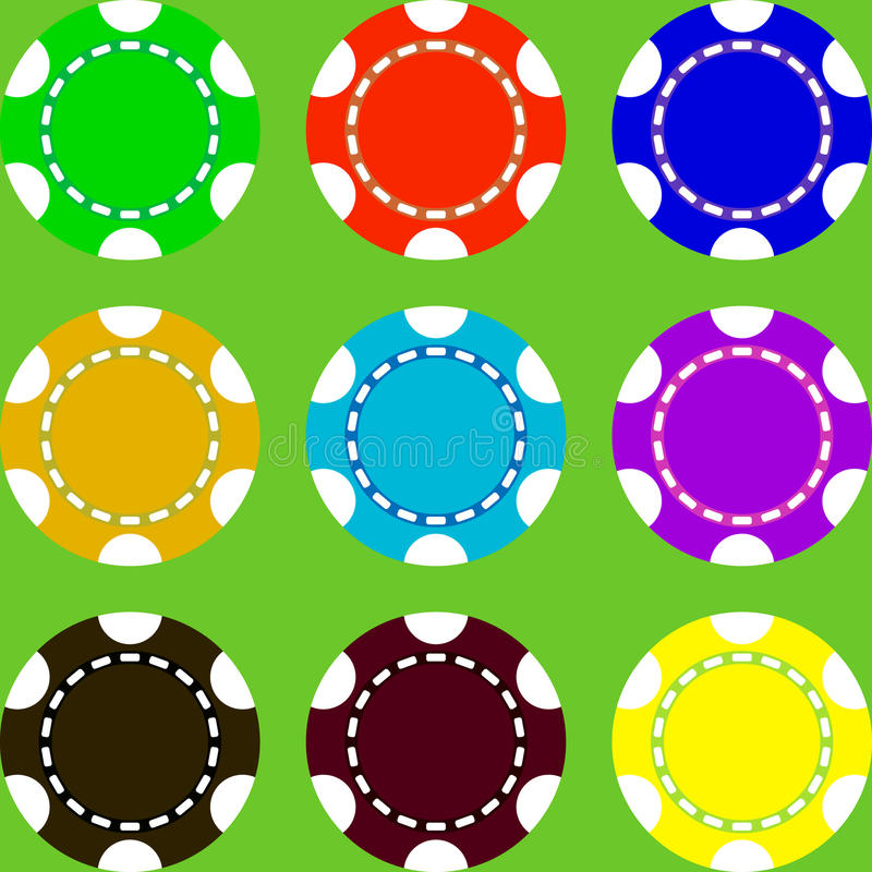Casino chips of different colors. Selection of multicolored casino chips on a green background vector illustration