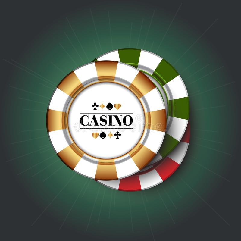 Casino Chips on the green background. royalty free illustration