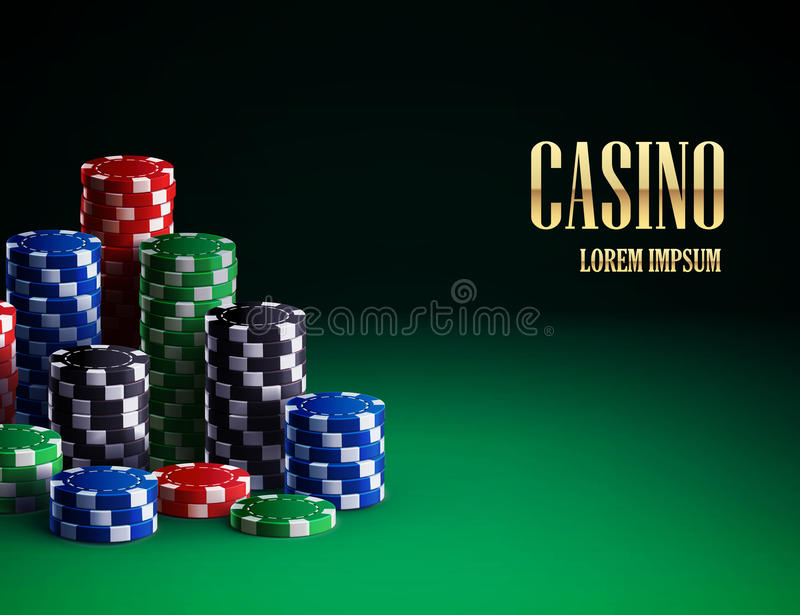 Casino chips on green background royalty free illustration