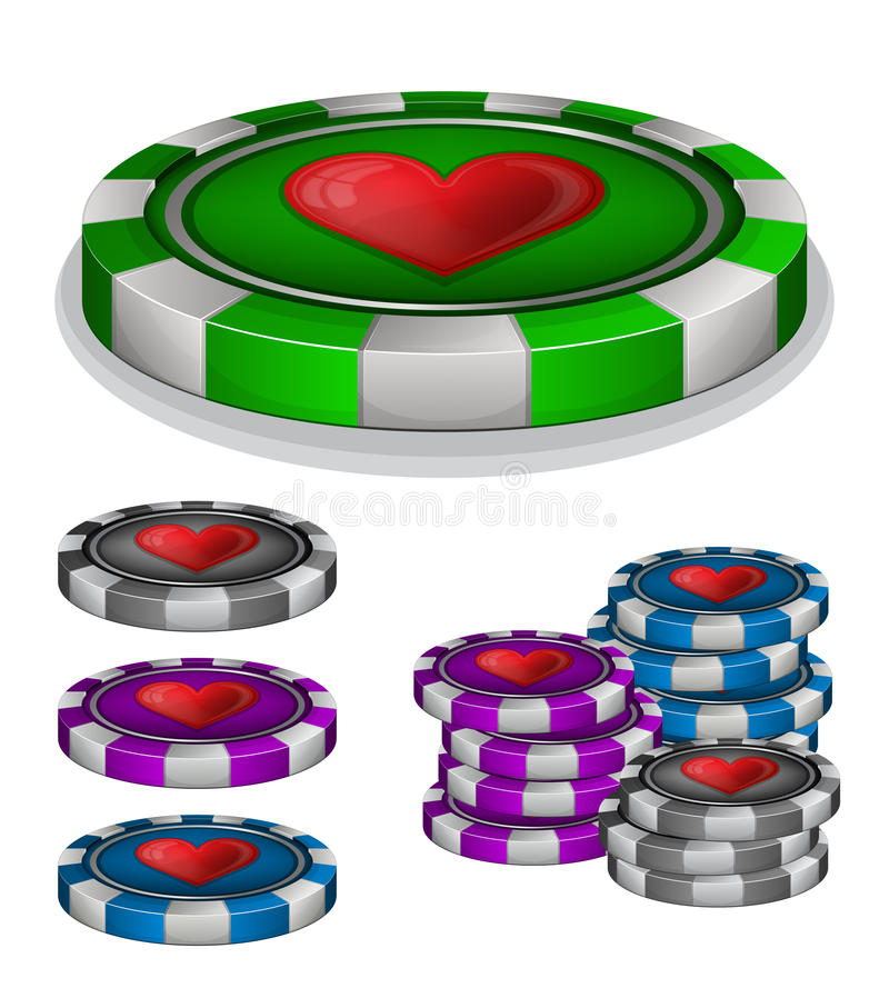 Download Casino Chips With Hearts Sign Stock Vector - Image: 32915272